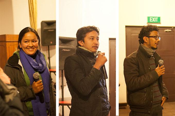 Photojournalist Uma Bista, Artudio Nepal's Kailash K Shrestha and Nirman Shrestha presenting each of their work.Photo: Shikhar Bhattarai